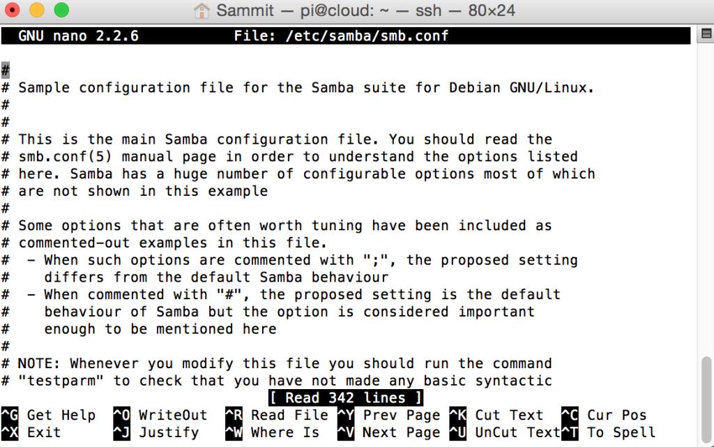 SAMBA Conf - Raspberry Pi NAS